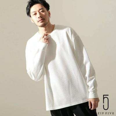 ZIP日本男裝 素色鬆餅織圓領/亨利領長袖T恤(20色)