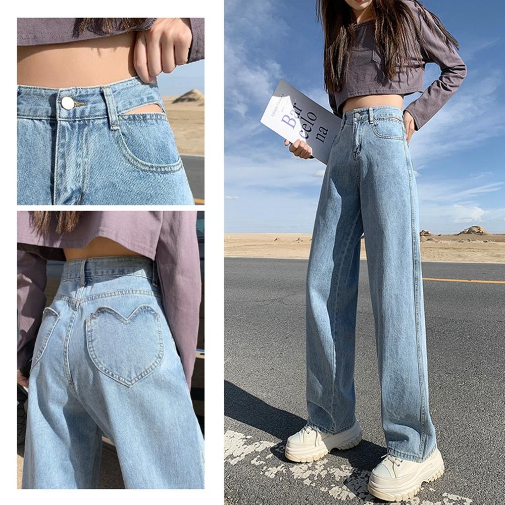 鏤空高腰愛心口袋直筒寬鬆牛仔褲XS-XL-WHATDAY