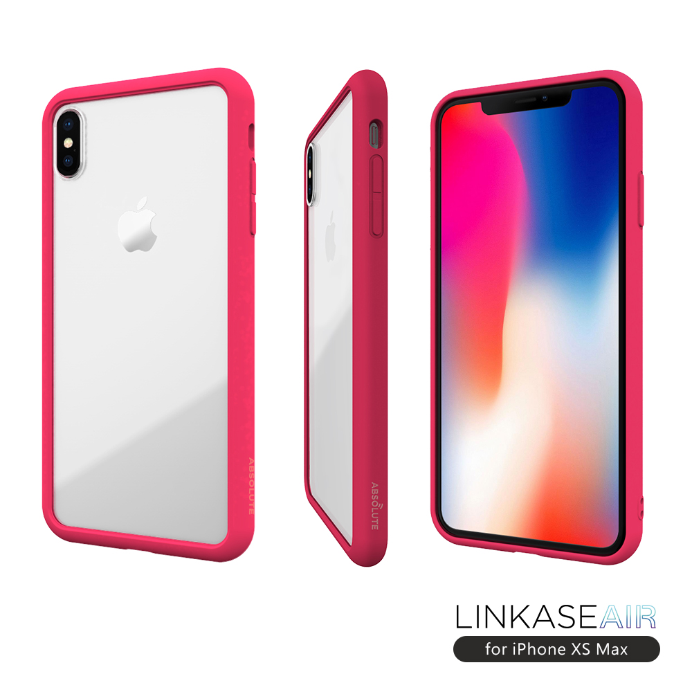 LINKASE AIR iPhone XS Max 大猩猩9H康寧玻璃防摔保護殼-甜心桃粉