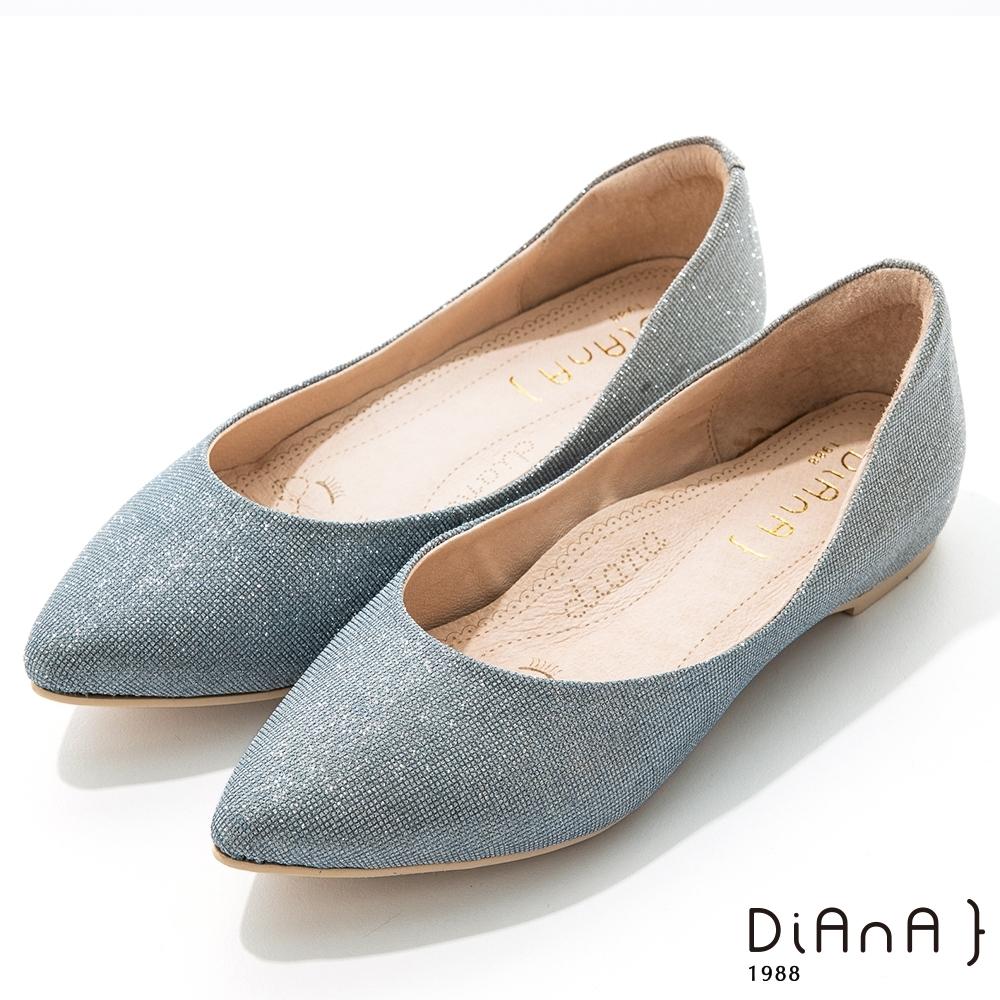 DIANA 2.5cm閃耀法式鑽石紋漸層尖頭內增高低跟鞋-漸層藍