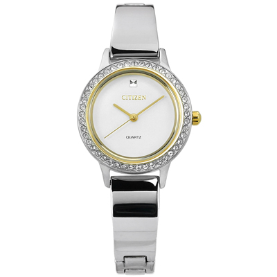 CITIZEN 名媛晶鑽鑲圈礦石強化玻璃日本機芯不鏽鋼手環手錶-白色/23mm