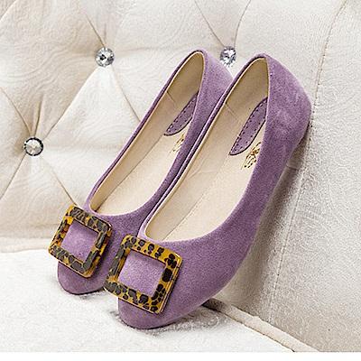 KEITH-WILL時尚鞋館 簡約方釦式素面平底鞋-紫色
