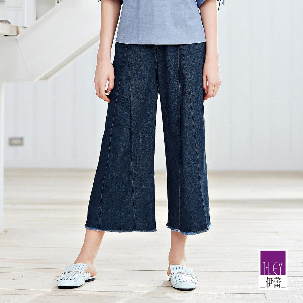 ILEY伊蕾 三角接片造型牛仔寬褲(藍) @ Y!購物