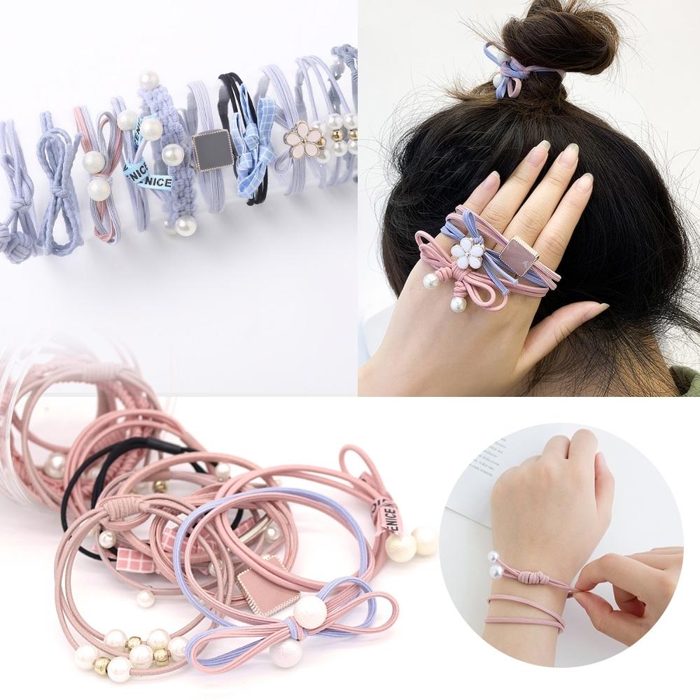 kiret韓國 莫蘭迪色 珍珠蝴蝶結珍珠髮圈超值12入 (贈橡皮筋髮圈)
