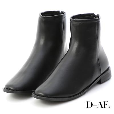 D+AF 簡約韓風.素面方頭後拉鍊短靴*黑