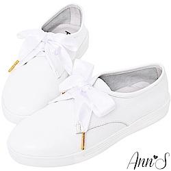 Ann'S第二代真牛皮小清新緞帶小白鞋