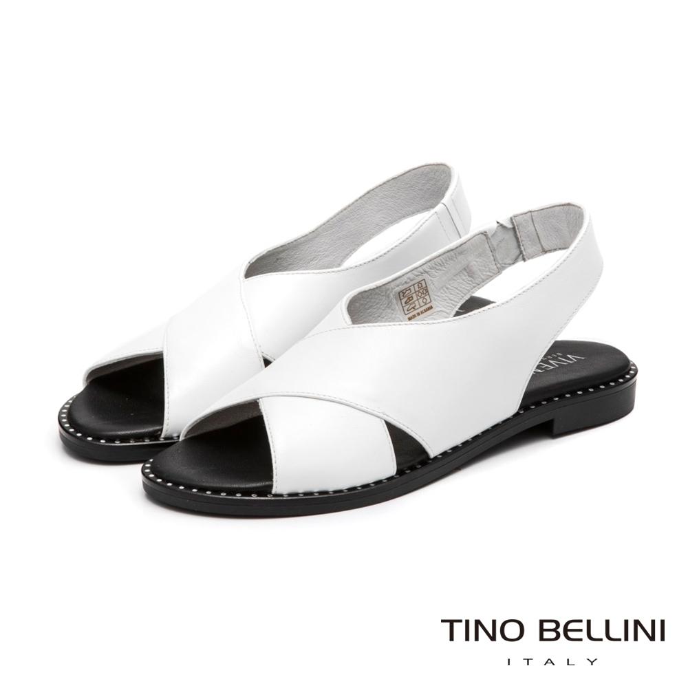 Tino Bellini中性簡單大交叉平底涼鞋_白