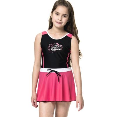 沙兒斯 兒童泳裝 粉紅連身裙中童泳裝