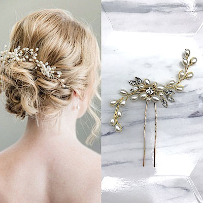 Hera 赫拉華麗水晶珍珠花婚紗髮簪頭飾