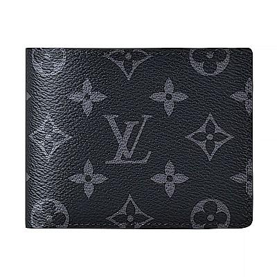 LV M61695 Multiple經典Monogram花紋帆布3卡對折短夾(黑)