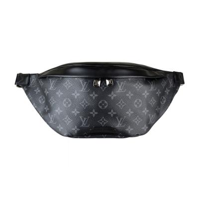 LV M44336 DISCOVERY花紋LOGO Monogram帆布拉鍊胸腰包(黑)