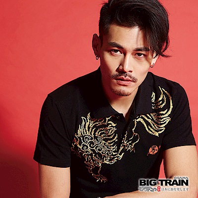 BIG TRAIN 霸氣唐獅POLO衫-男-黑色