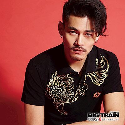 BIG TRAIN 加大霸氣唐獅POLO衫-男-黑色