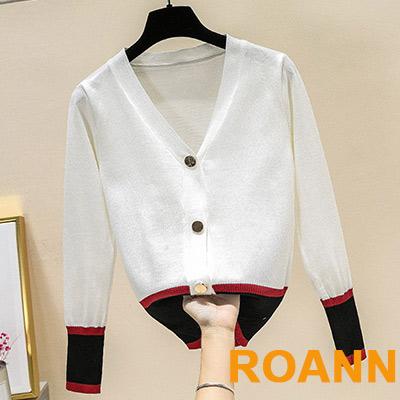 學院風排扣撞色針織外套 (共二色)-ROANN