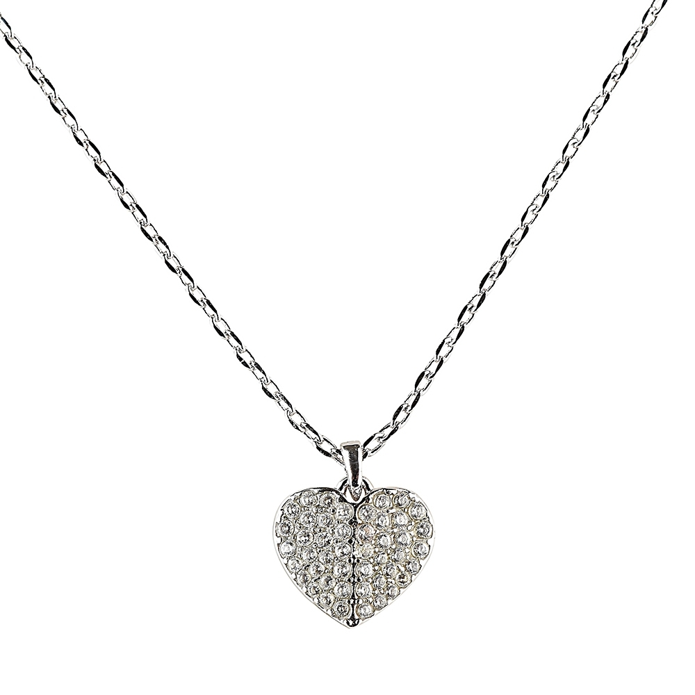 kate spade HEART TO HEART 黑桃LOGO愛心設計鑽鑲飾項鍊(銀x白) product image 1