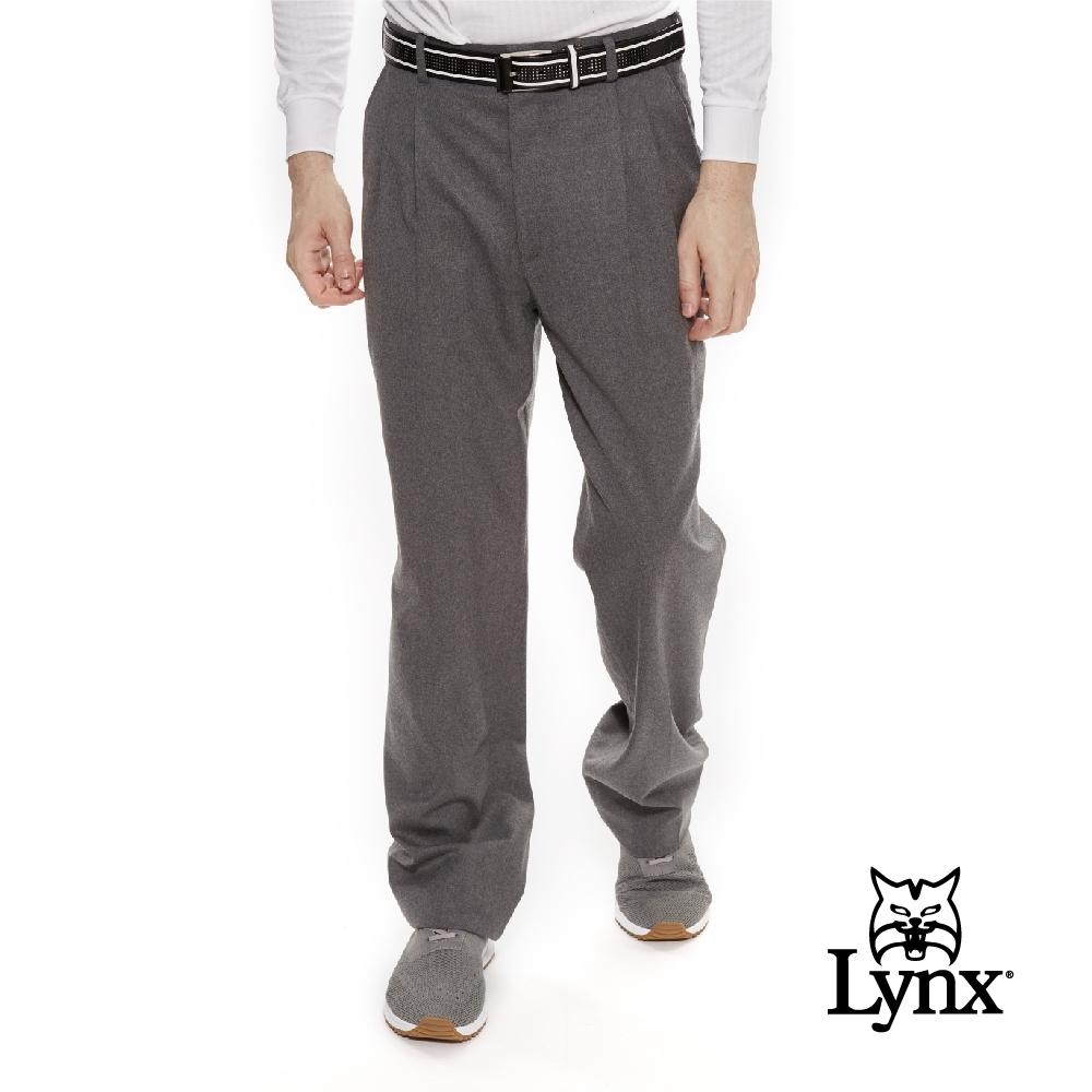 【Lynx Golf】男款歐洲進口布料伸縮腰頭質感毛料雙折西裝長褲-灰色