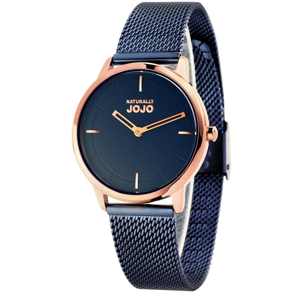 NATURALLY JOJO 品味非凡米蘭帶腕錶-寶藍/32mm