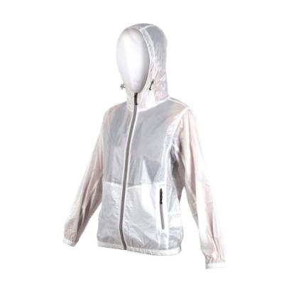 SOFO 女抗UV果凍外套-可收納 連帽 慢跑 路跑 白灰