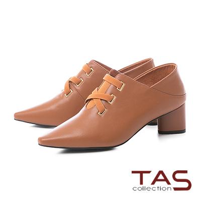 TAS素面交叉繫帶V口尖頭踩腳粗跟鞋–焦糖棕