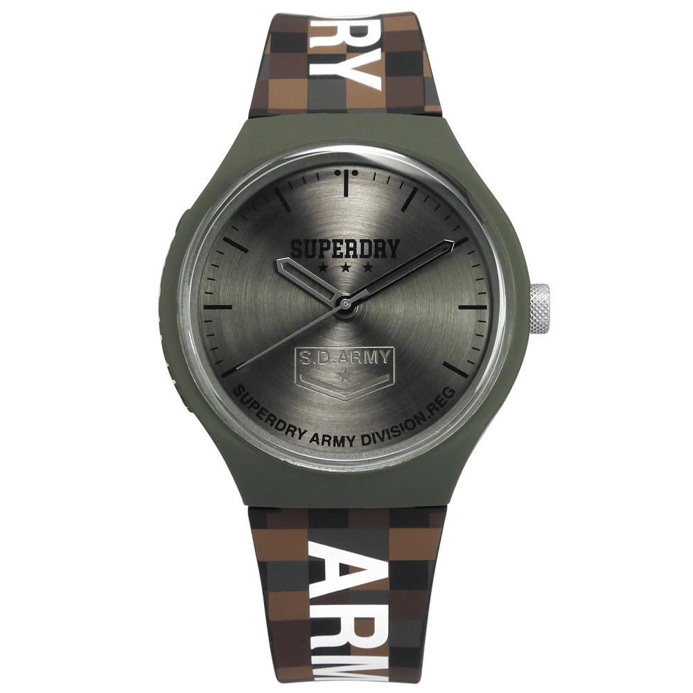 Superdry 極度乾燥 迷彩 馬賽克 潮流品牌 舒適矽膠手錶-灰x綠框x咖啡/43mm