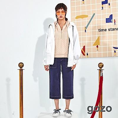 gozo 立體配色壓線七分棉質寬褲(二色)