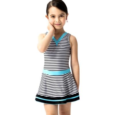 沙兒斯 兒童泳裝 可愛尖領橫紋連身裙式女童泳裝