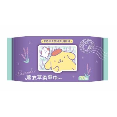 Sanrio 三麗鷗 布丁狗薰衣草有蓋柔濕巾/濕紙巾(加蓋)70抽X36包(箱購) 特選水針布質地超柔軟