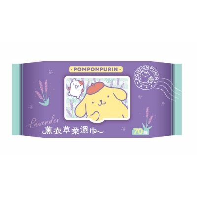 Sanrio 三麗鷗 布丁狗 薰衣草有蓋柔濕巾/濕紙巾 (加蓋) 70 抽 X 12 包 特選水針布質地超柔軟