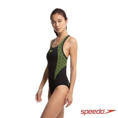 SPEEDO 女 運動連身泳裝 Boomstar Splice FB 黑/黃