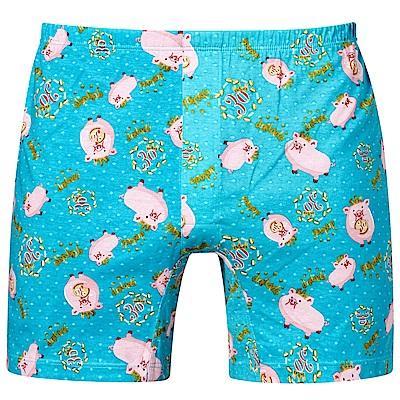 DADADO-豬事如意 M-3L 印花平口內褲(綠)