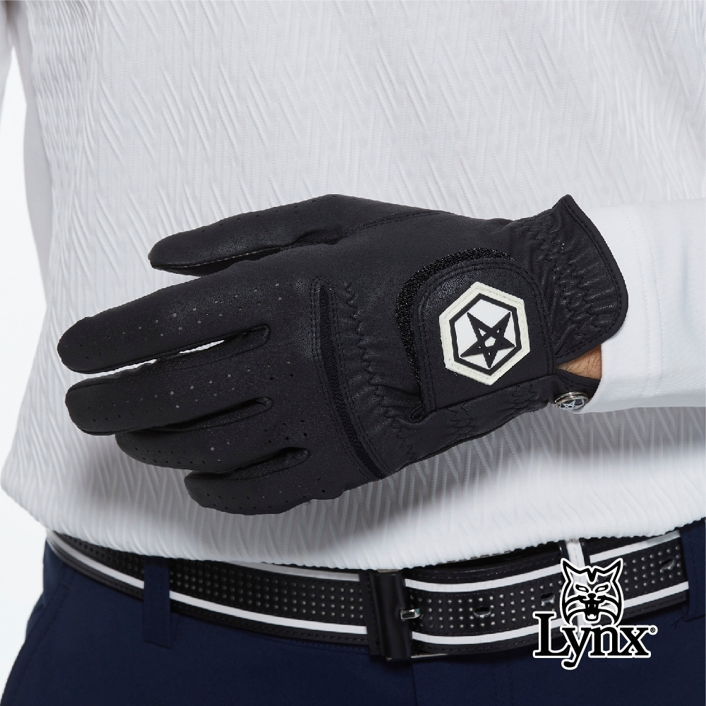 【Lynx Golf】Asher Chuck 多色系列男款防滑彈性高爾夫左手手套-黑色