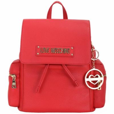LOVE MOSCHINO 鑰匙圈掛飾荔紋牛皮後背包(紅色)