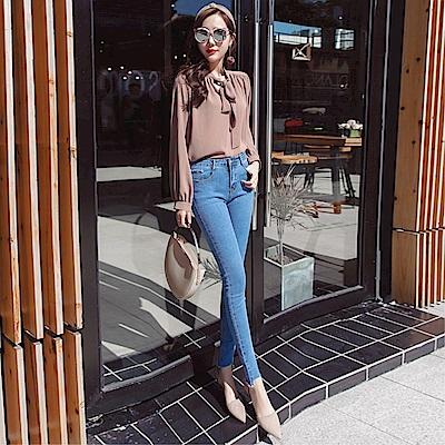 DABI 韓系時尚高腰彈力不規則腳邊鉛筆顯瘦小腳單品牛仔褲