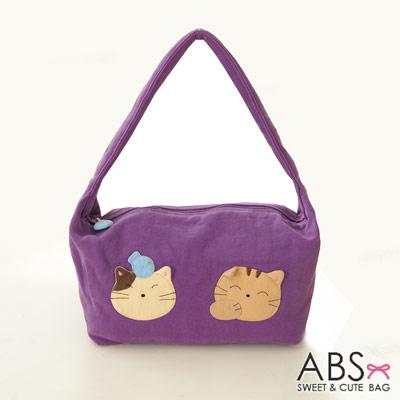 ABS貝斯貓 可愛貓咪手工拼布肩背包 手提包(典雅紫)88-021