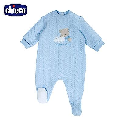 chicco-寶貝熊系列-夾棉後開兔裝-藍(3-12個月)
