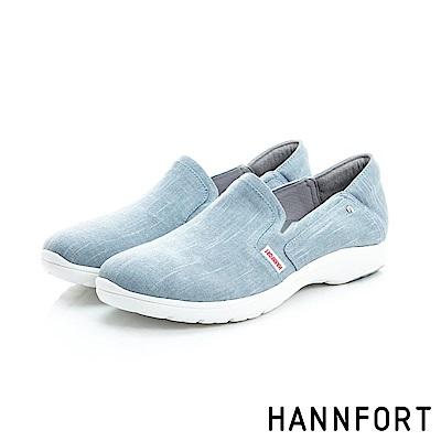 HANNFORT EASY WALK丹寧帆布氣墊鞋-女-淺粉藍