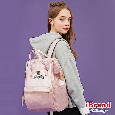 iBrand後背包 少女玫瑰花夢微亮片大開口後背包-粉色