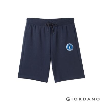 GIORDANO 男裝企鵝刺繡棉質休閒短褲 - 03 標誌海軍藍