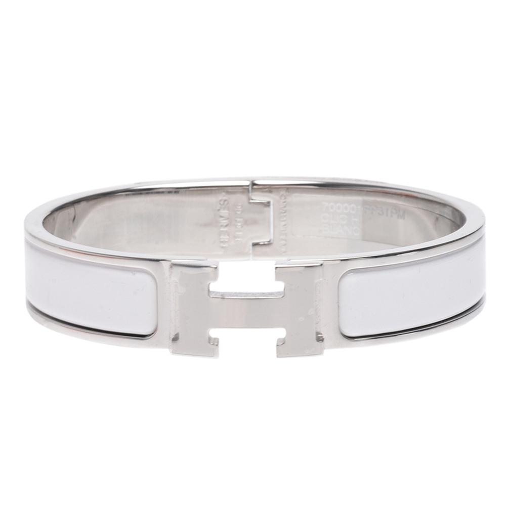 HERMES 經典Clic H LOGO琺瑯細版手環(白X銀)