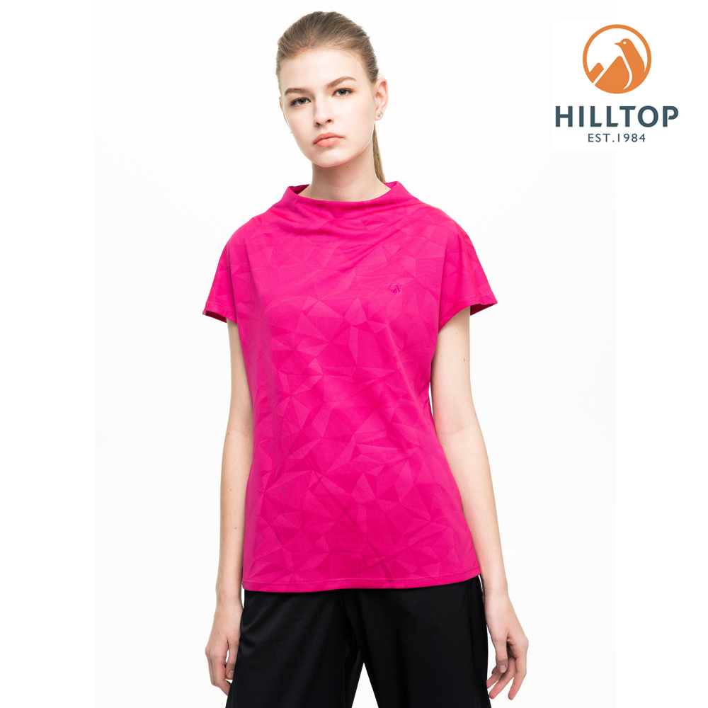 【hilltop山頂鳥】女款吸濕快乾抗UV抗菌T恤S04FI1螢光粉紅