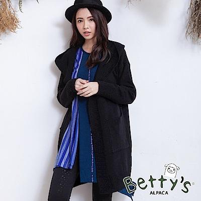 betty's貝蒂思 外搭毛料羅紋收邊針織衫(黑色)