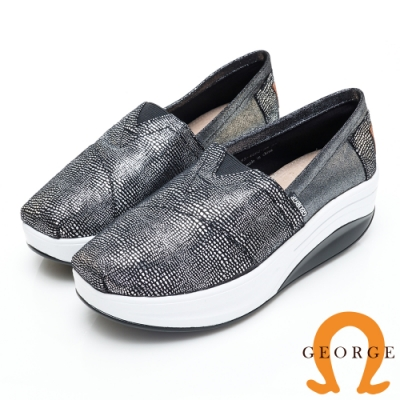 GEORGE 喬治皮鞋 舒適彈力亮面厚底休閒鞋-黑色