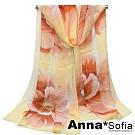 AnnaSofia 清麗花蕾 軟柔雪紡 仿蠶絲領巾絲巾圍巾(米黃底系)