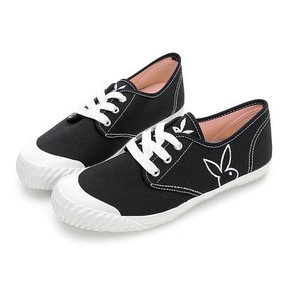 PLAYBOY 電繡兔兔綁帶休閒鞋-黑-Y7208CC