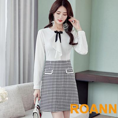 OL風蝴蝶結拼接格紋短款洋裝 (白色)-ROANN
