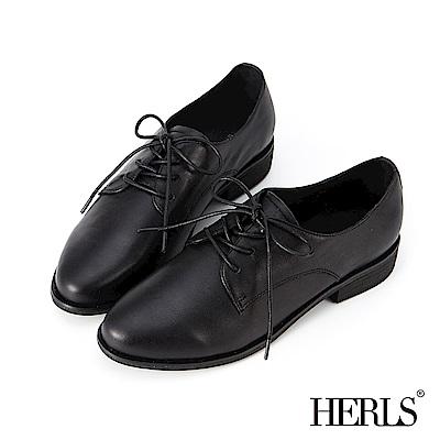 HERLS 經典再現 全真皮素面低跟牛津鞋-黑色