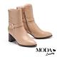 短靴 MODA Luxury 知性鱷魚壓紋拼接釦帶粗高跟短靴-米 product thumbnail 1