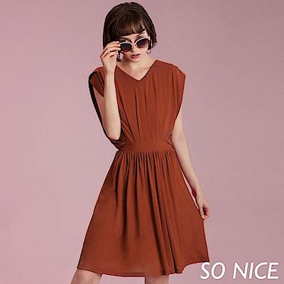 SO NICE簡約壓褶造型洋裝