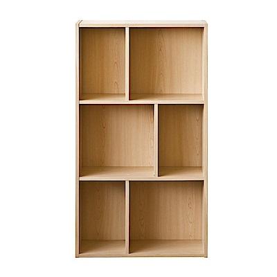 TZUMii 超穩固和風三層六格櫃-木紋色