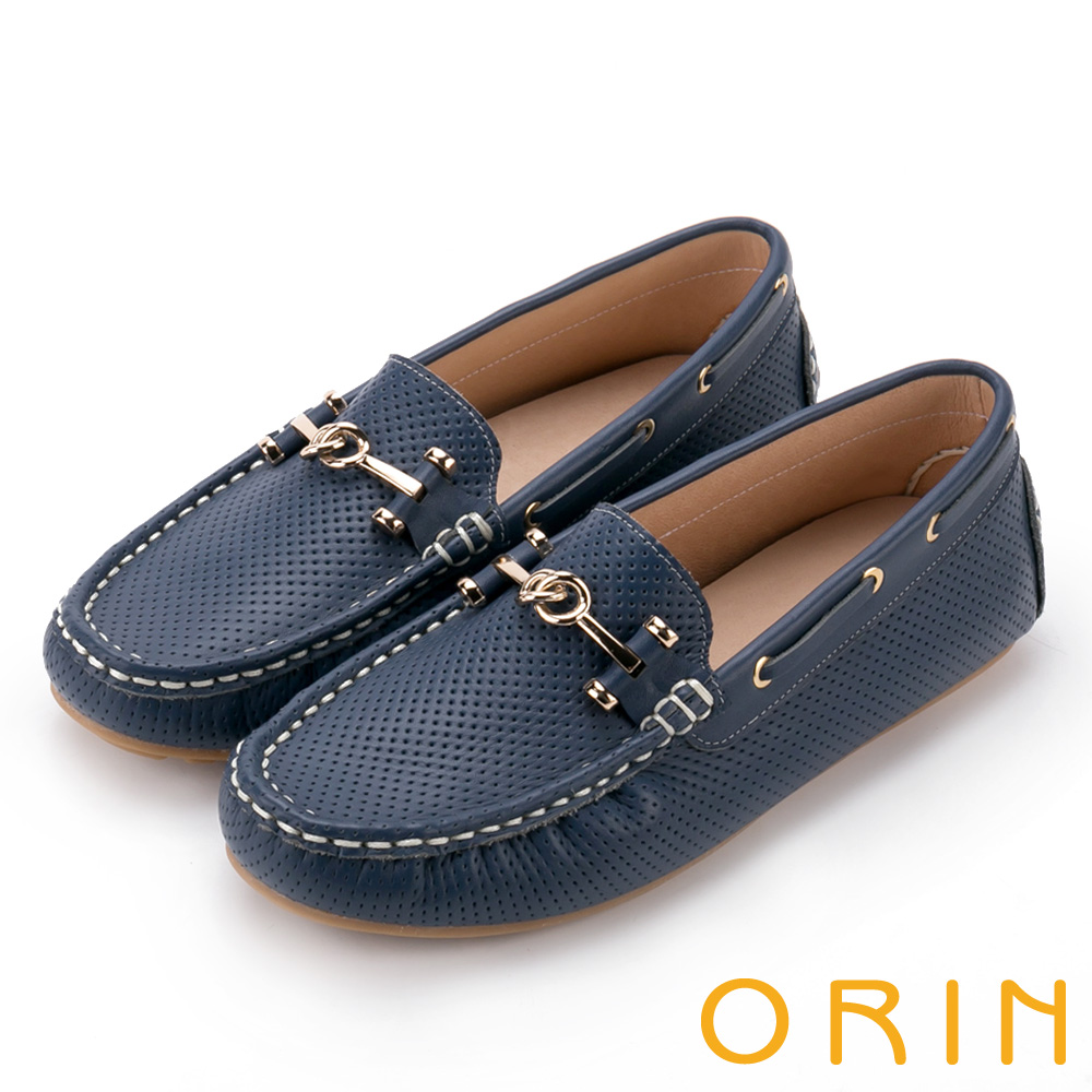 ORIN 牛皮金屬飾釦洞洞 女 平底鞋 寶藍